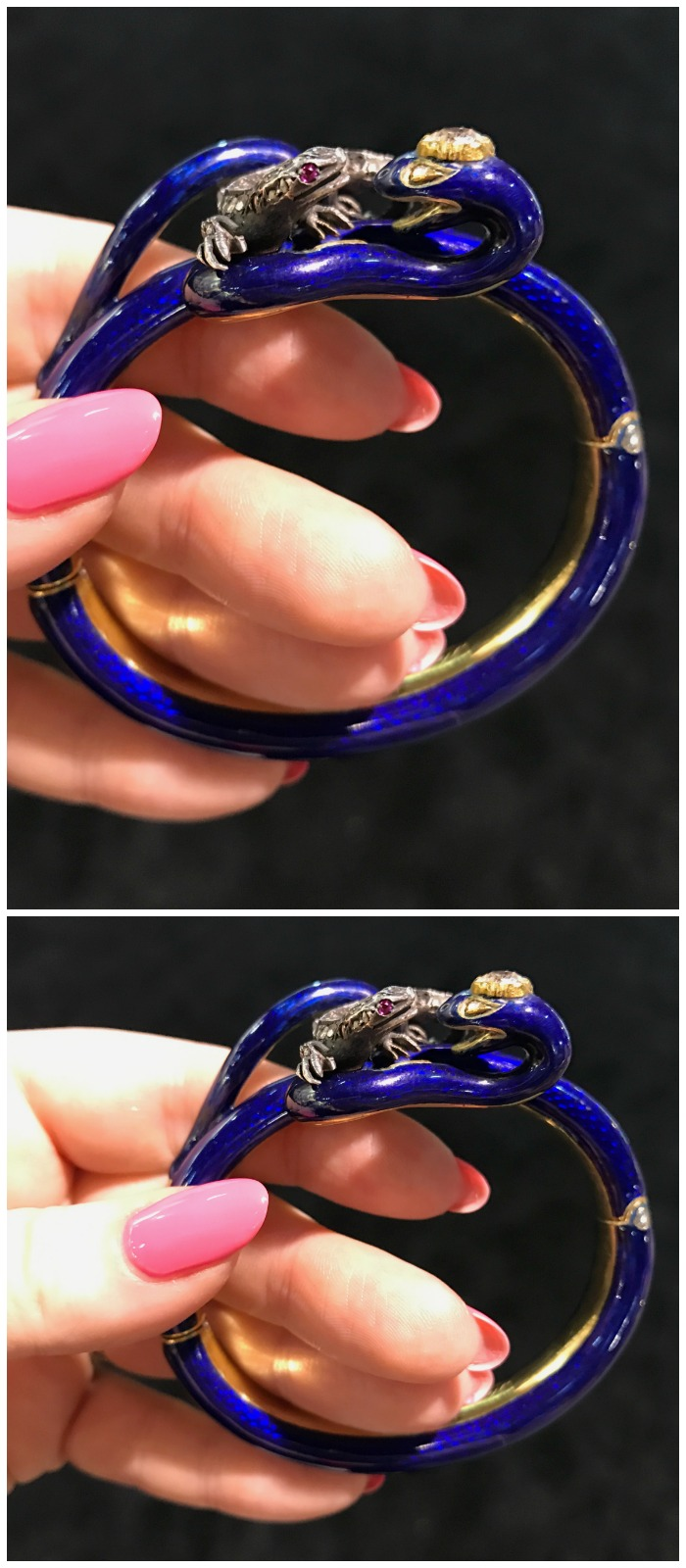 An exceptional antique enamel bangle featuring a lizard or dragon and snake. Seen at Lenore Dailey.