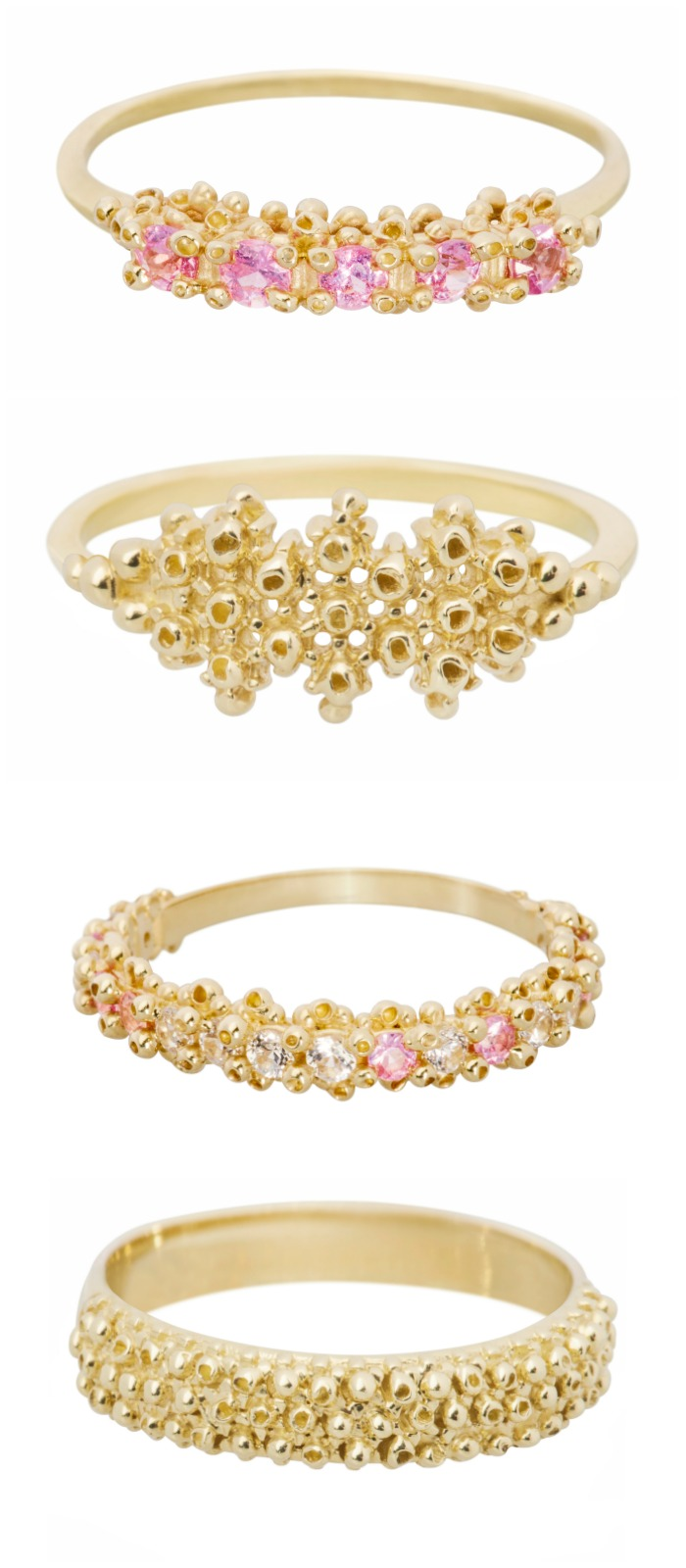 Beautiful, handmade yellow gold rings by Ruta Reifen. Some with gemstones, some without.
