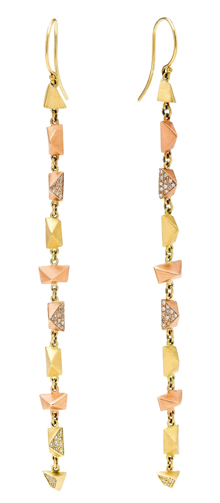 Dana Bronfman faceted drop earrings in 18K yellow and rose gold with diamond pave.