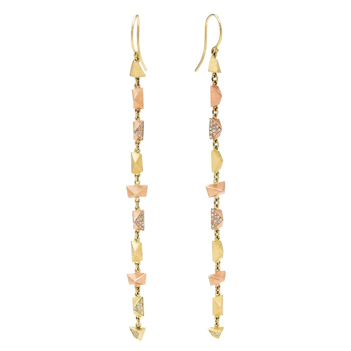 Dana Bronfman earrings in 18K yellow and rose gold with diamond pave.