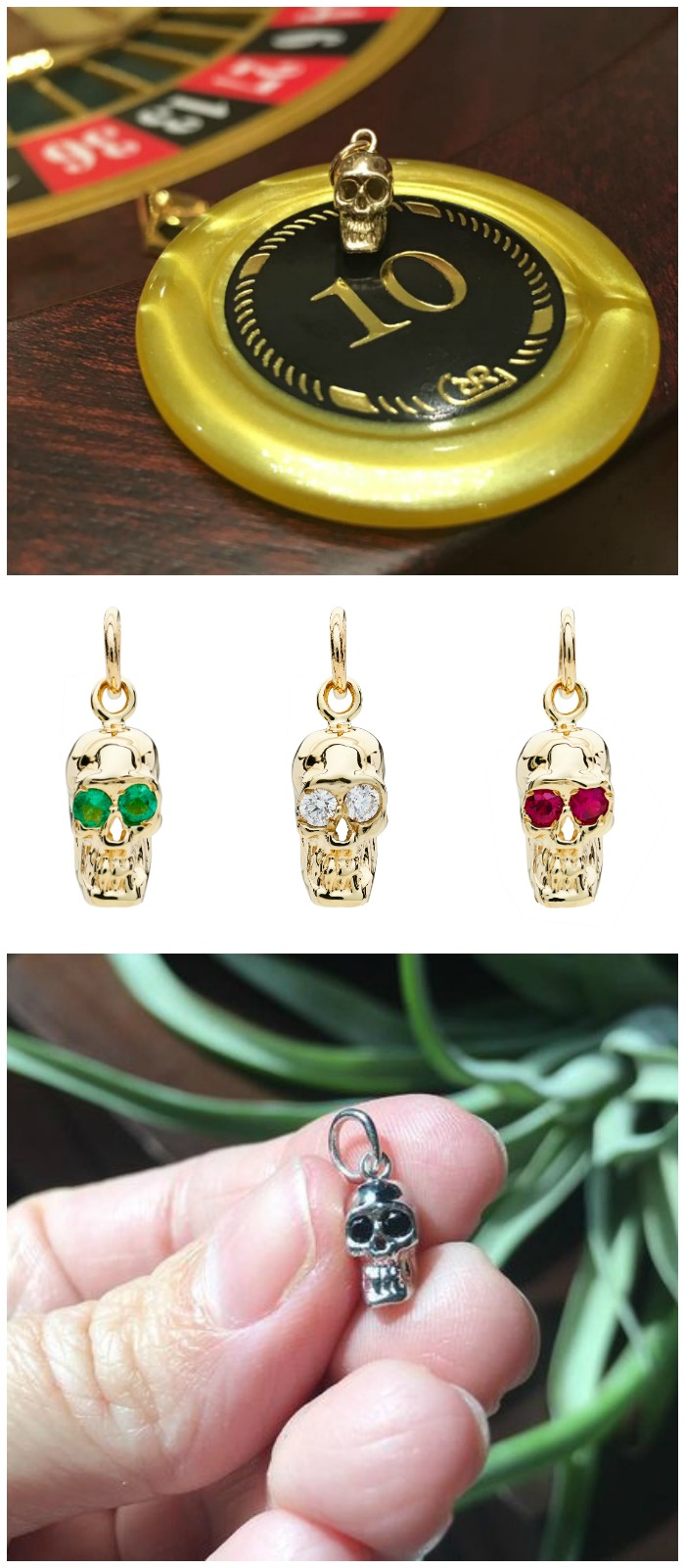 I love these Alexis Kletjian skulls! In yellow gold with diamonds, emeralds, or rubies.
