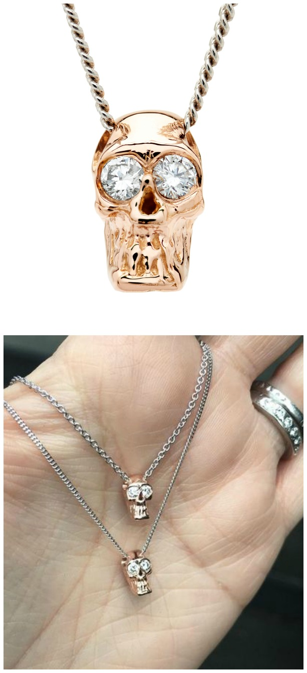 I love these Alexis Kletjian skulls! This one is a slide charm in rose gold with diamonds.