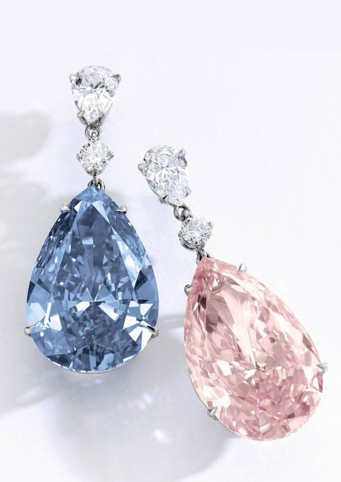 The Apollo Blue diamond and the Artemis Pink diamond make up this exquisite pair of earrings, called the most important ever to be sold at auction.
