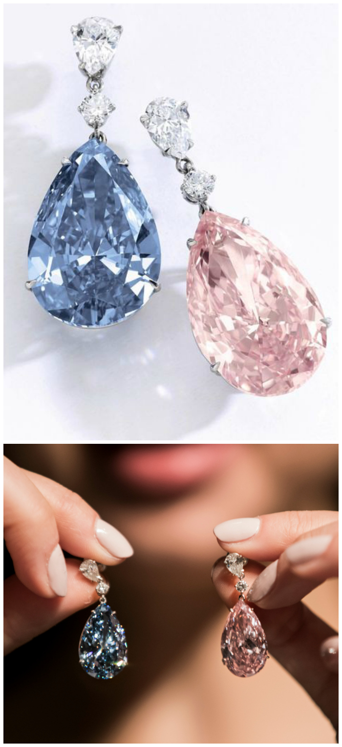 The Apollo blue diamond and the Artemis pink diamond make up this exquisite pair of earrings, which are called the most important ever to be sold at auction.
