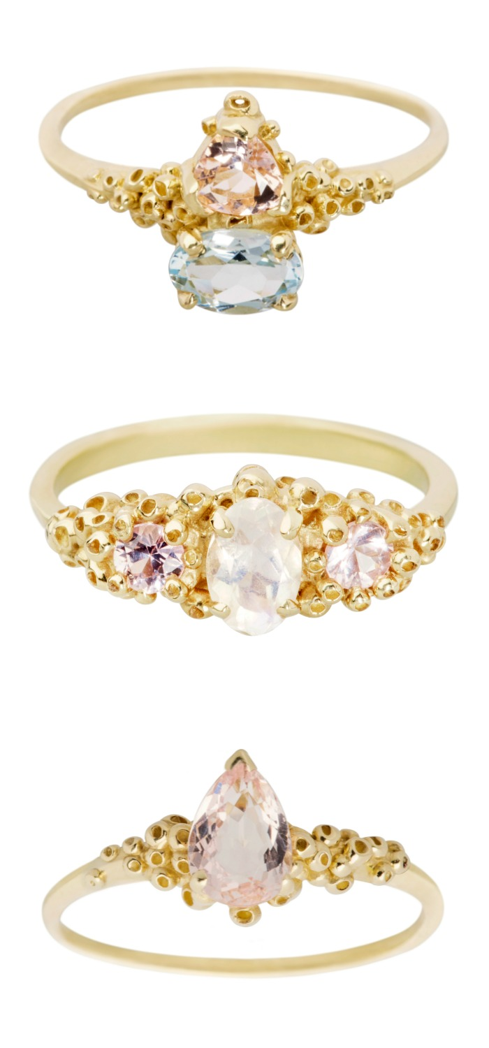 Three dreamy handmade gemstone and diamond rings by Ruta Reifen.