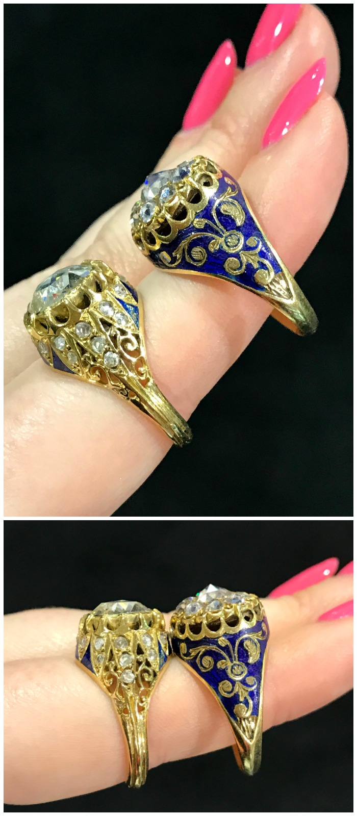 Two exceptional rose cut antique diamond rings from Jogani. Seen at the Original Miami Antique Show.