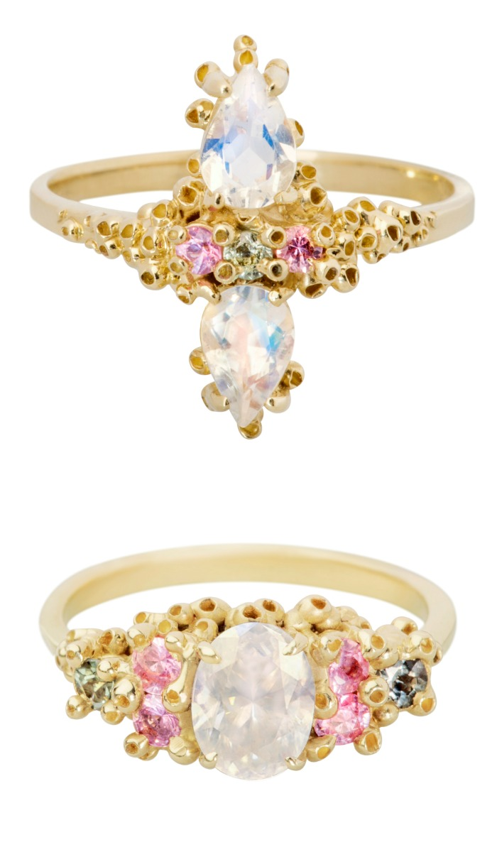 Two lovely, handmade yellow gold rings by Ruta Reifen. With colorful sapphires, amethyst, and rainbow moonstone.