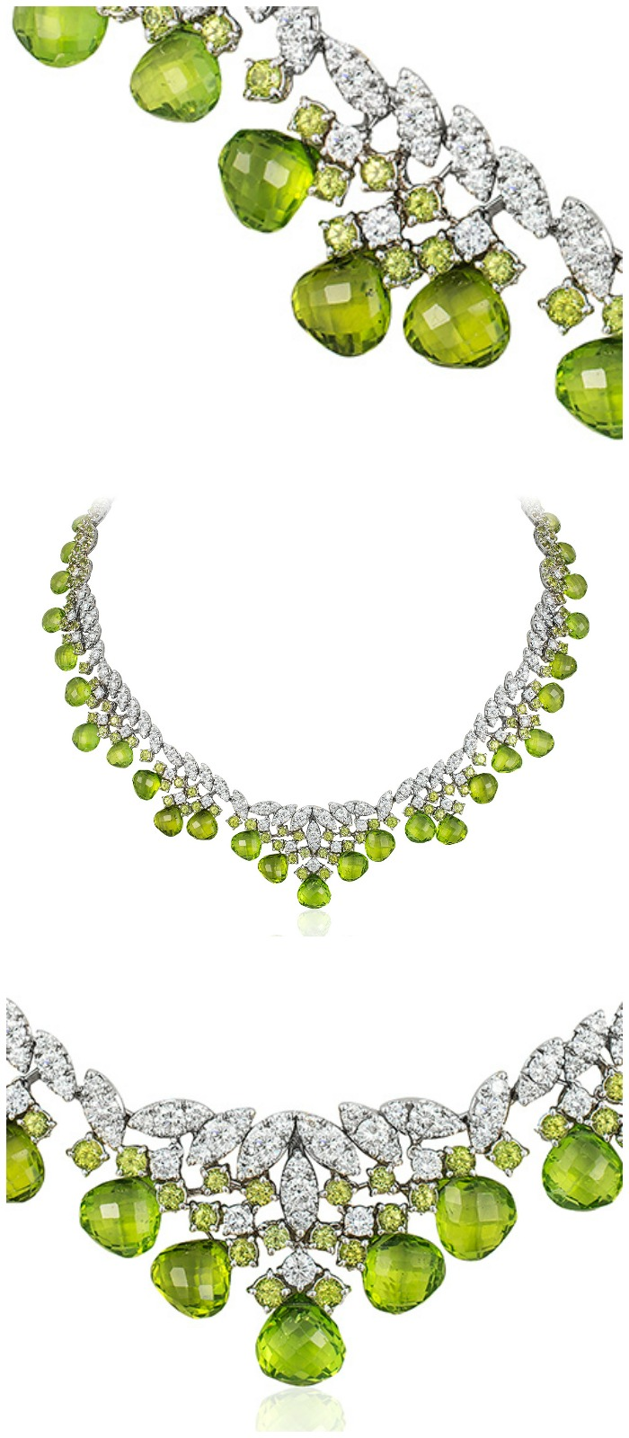 An incredible Andreoli briolette necklace with 10.36 carats of diamonds and 130.75g peridot.