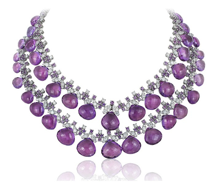 An incredible Andreoli necklace with 16.17 carats of diamonds and 328.28g amethyst briolettes!
