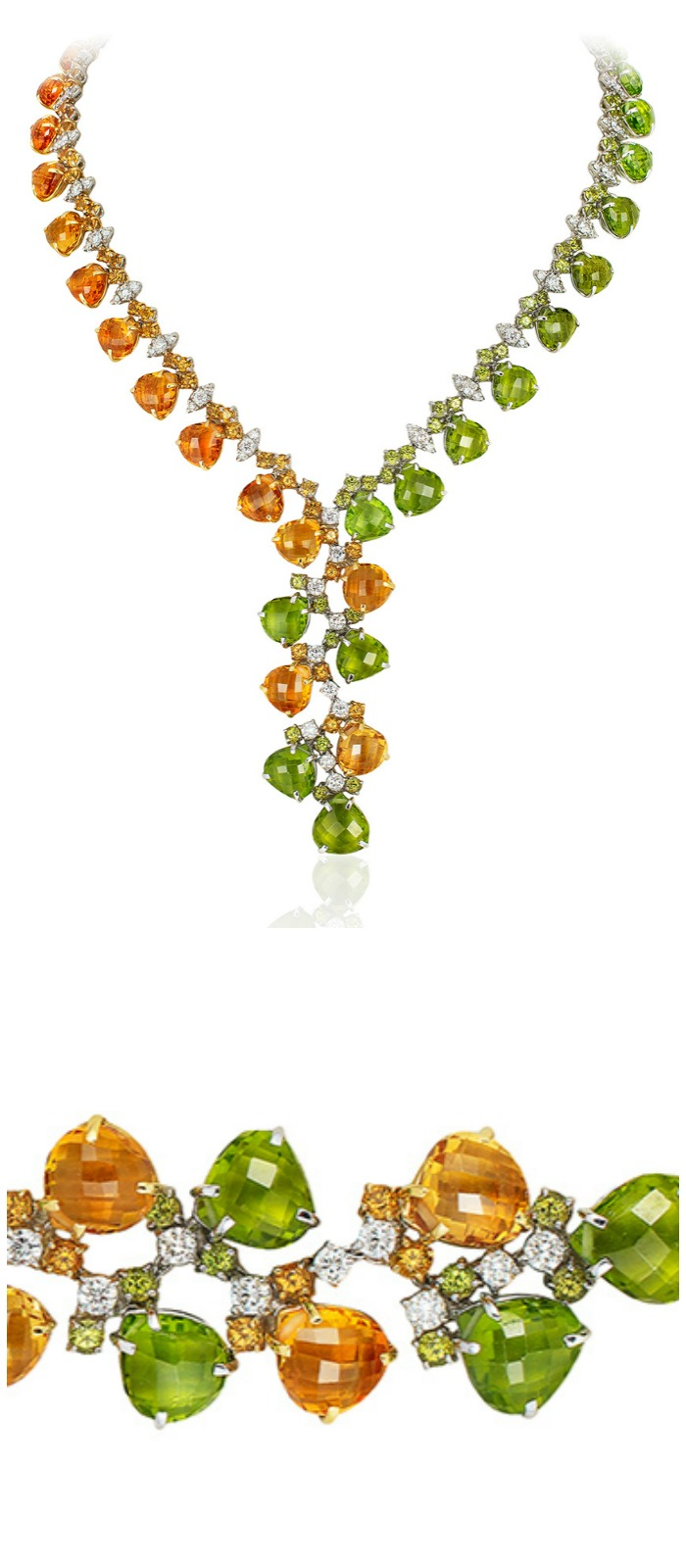 An incredible Andreoli briolette necklace with diamonds, peridot, and citrine gemstones.