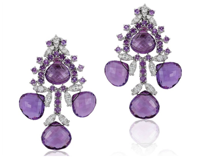 Beautiful Andreoli earrings with 2.00 carats of diamonds and 71.13 g amethyst. How about those briolettes?