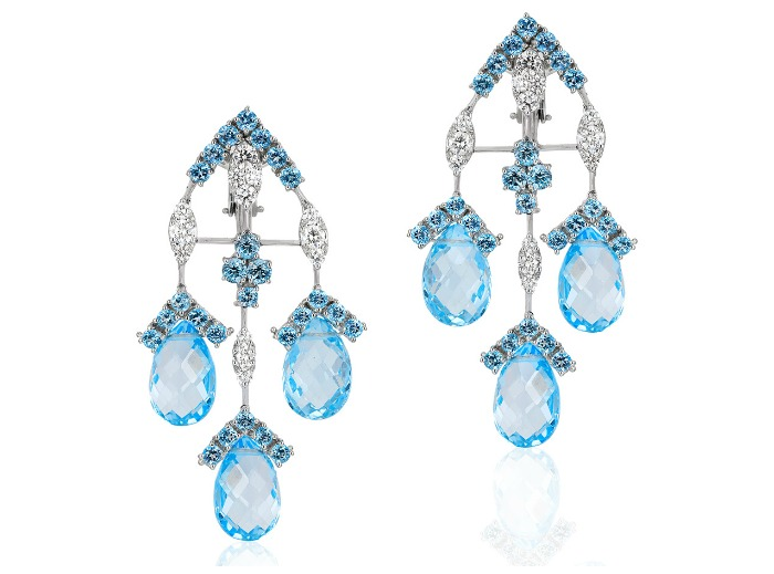 Beautiful Andreoli earrings with 2.16 carats of diamonds, 9.25 g round blue topaz, and 46.90 g drop blue topaz. I love those briolettes! So glam.