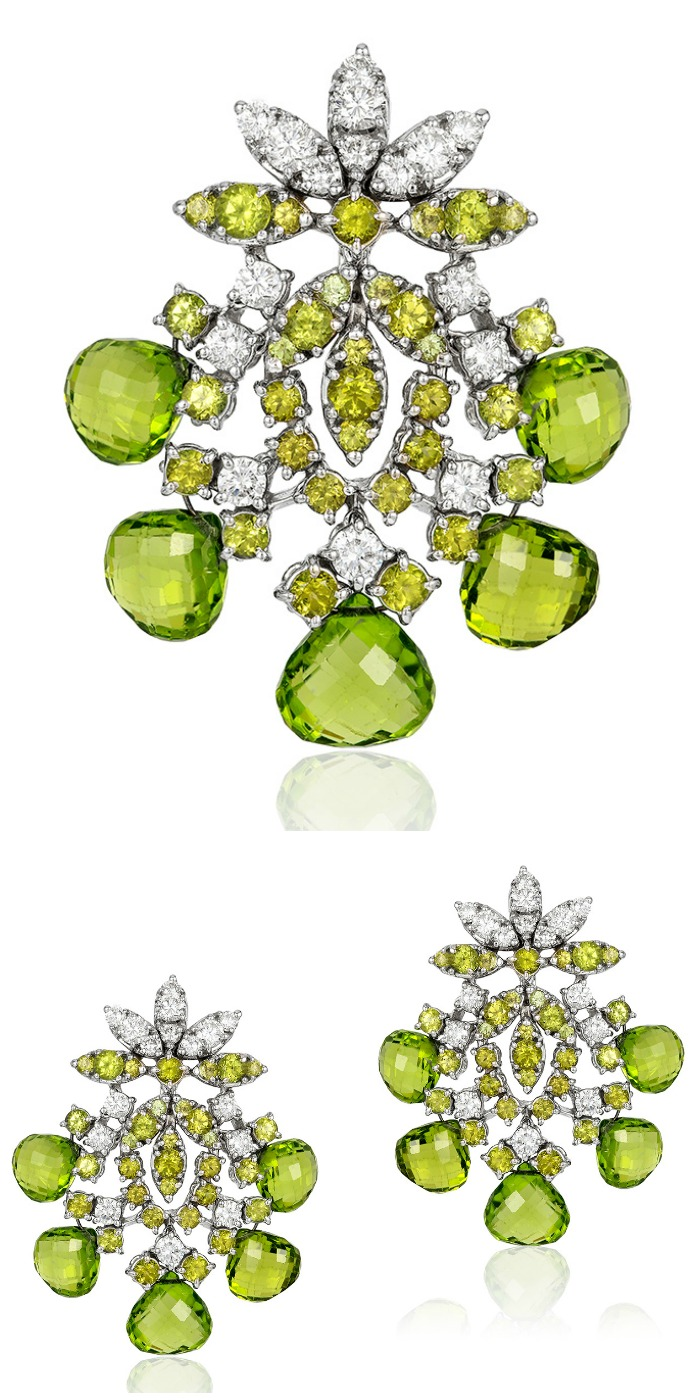 Beautiful Andreoli briolette earrings with 2.92 carats of diamonds and 39.45 g peridot.