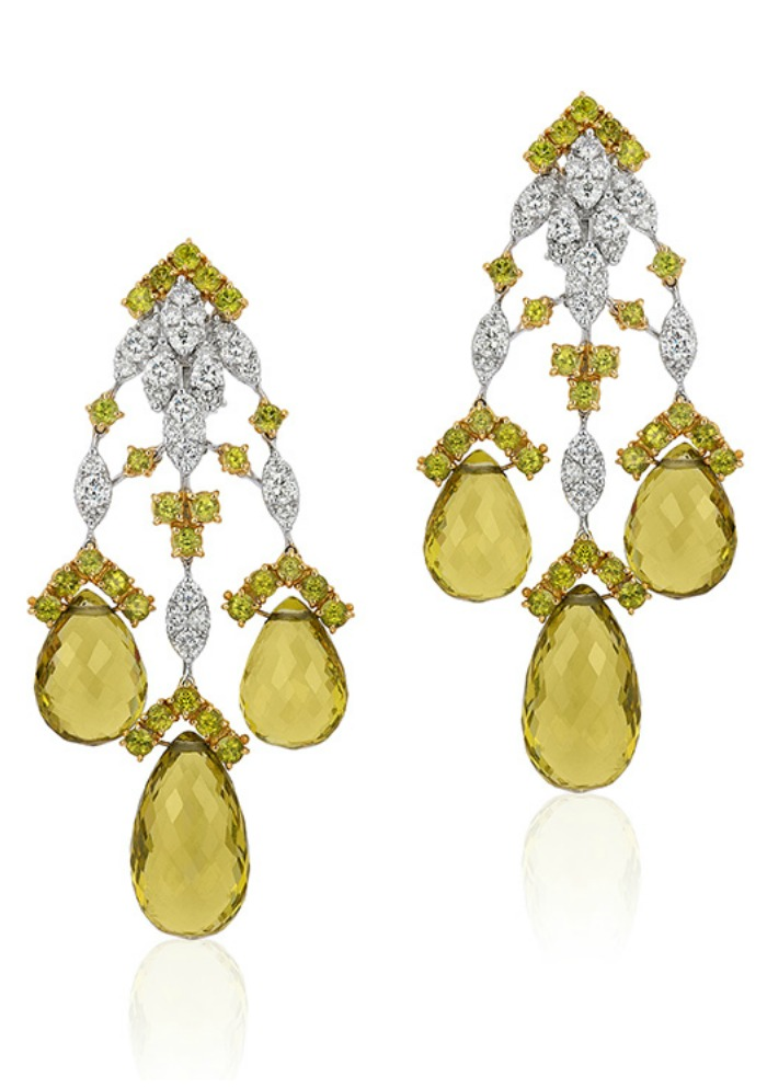 Beautiful Andreoli briolette earrings with 4.68 carats of diamonds and 55.65 g peridot