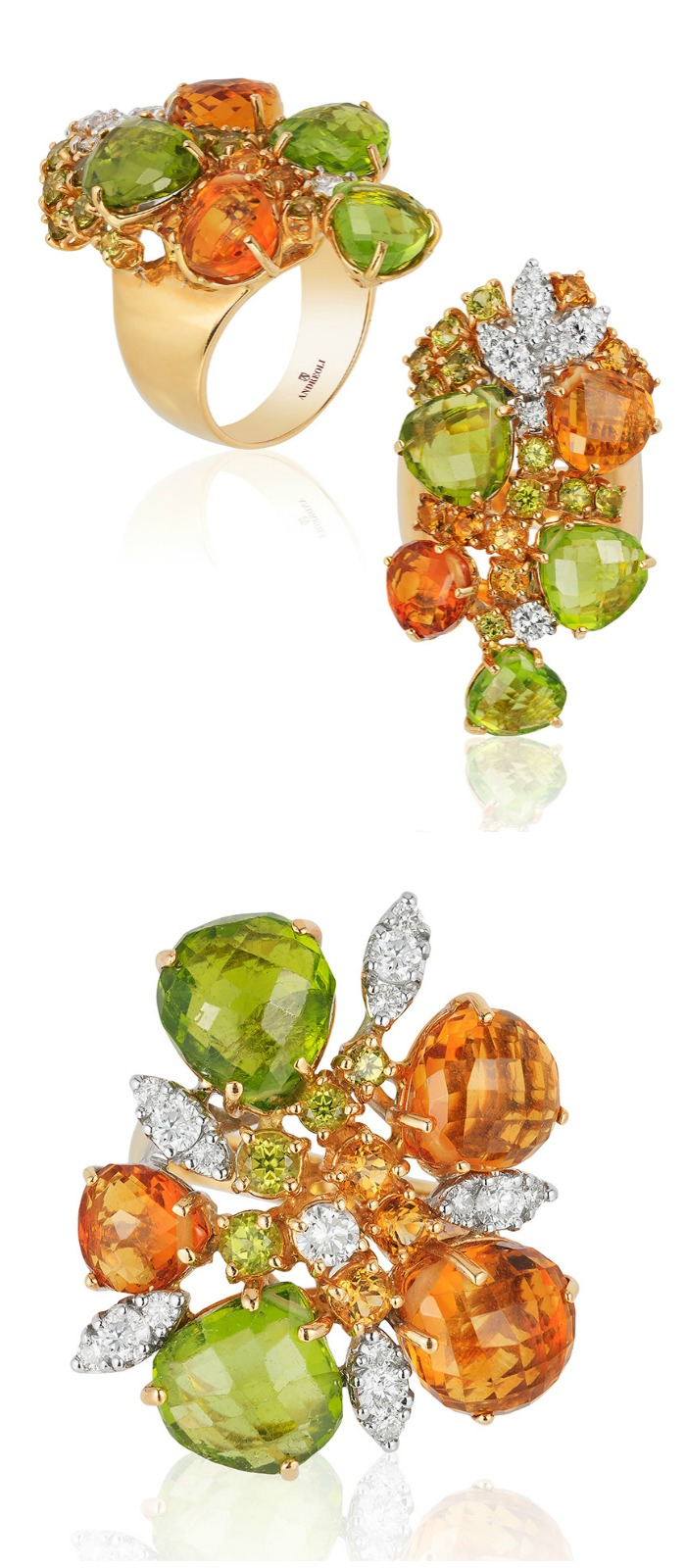 Beautiful citrine, peridot, and diamond briolette jewels by Andreoli.