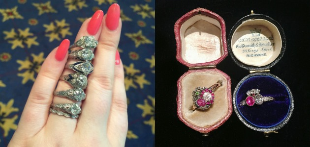 Engagement Ring Hunting With Diamonds in the Library at Jewelry Market Week