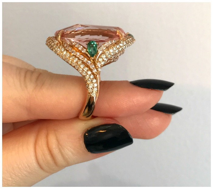 GiGi Ferranti's award winning Shangri-La ring with a 15.38 ct peachy-pink morganite center stone.
