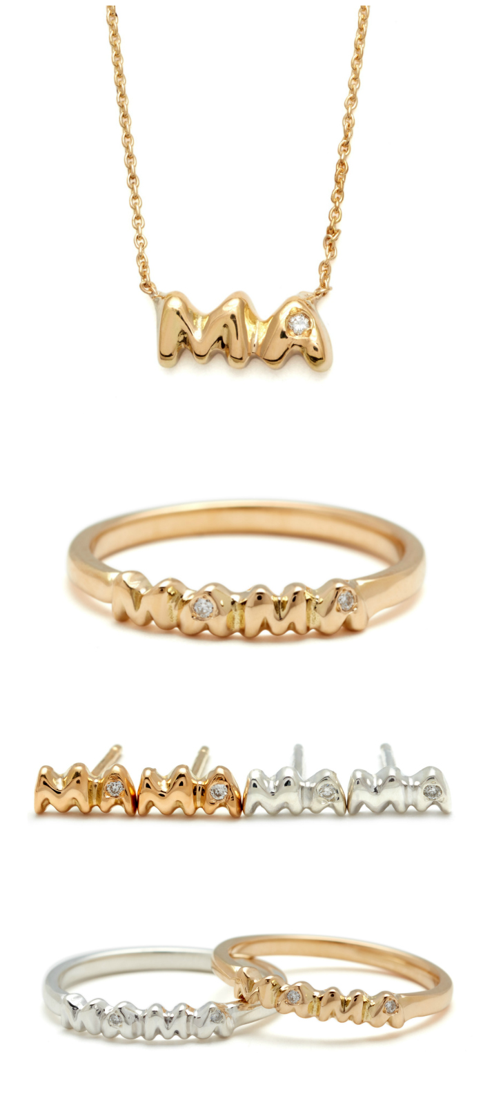 The super chic and oh so sweet Elisa Solomon Mama jewelry collection - because moms are chic, too!