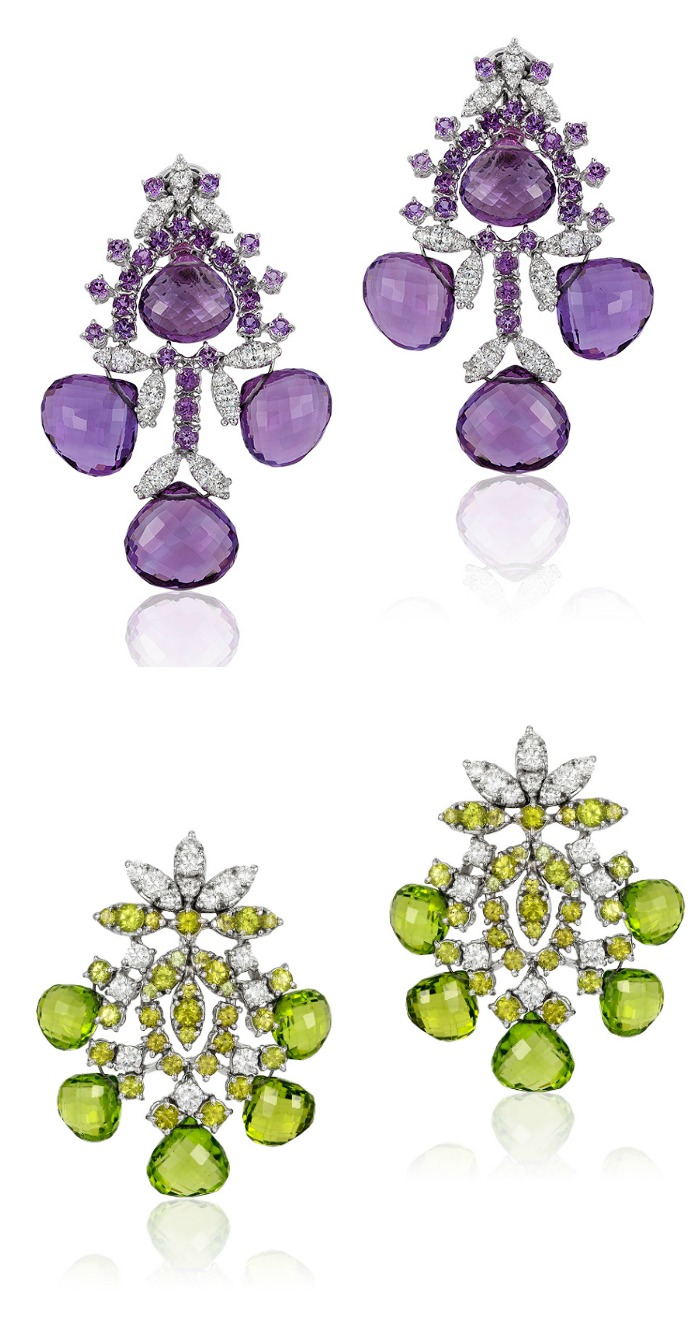 Two beautiful pairs of briolette gemstone earrings by Andreoli.