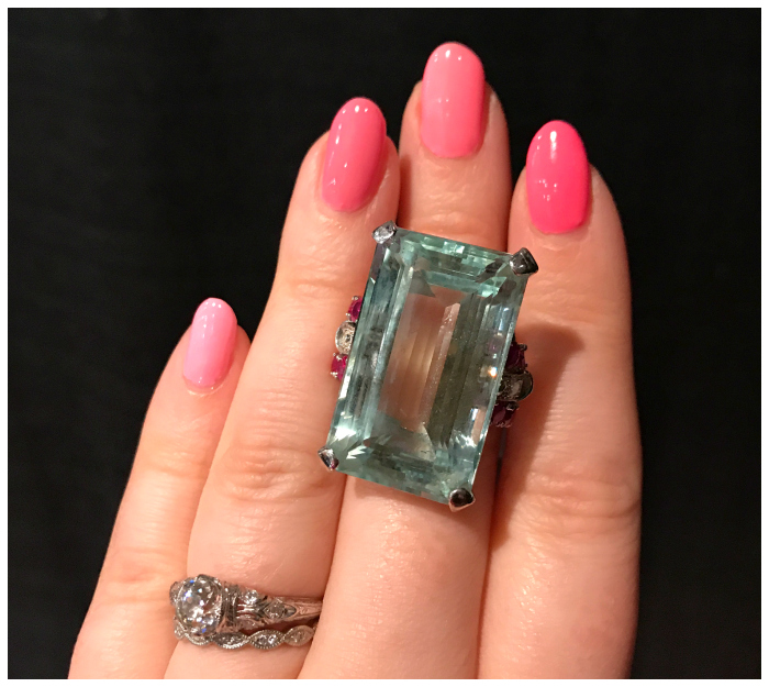 A fantastic aquamarine cockatil ring with ruby and diamond accents. Seen at Maryanntiques.