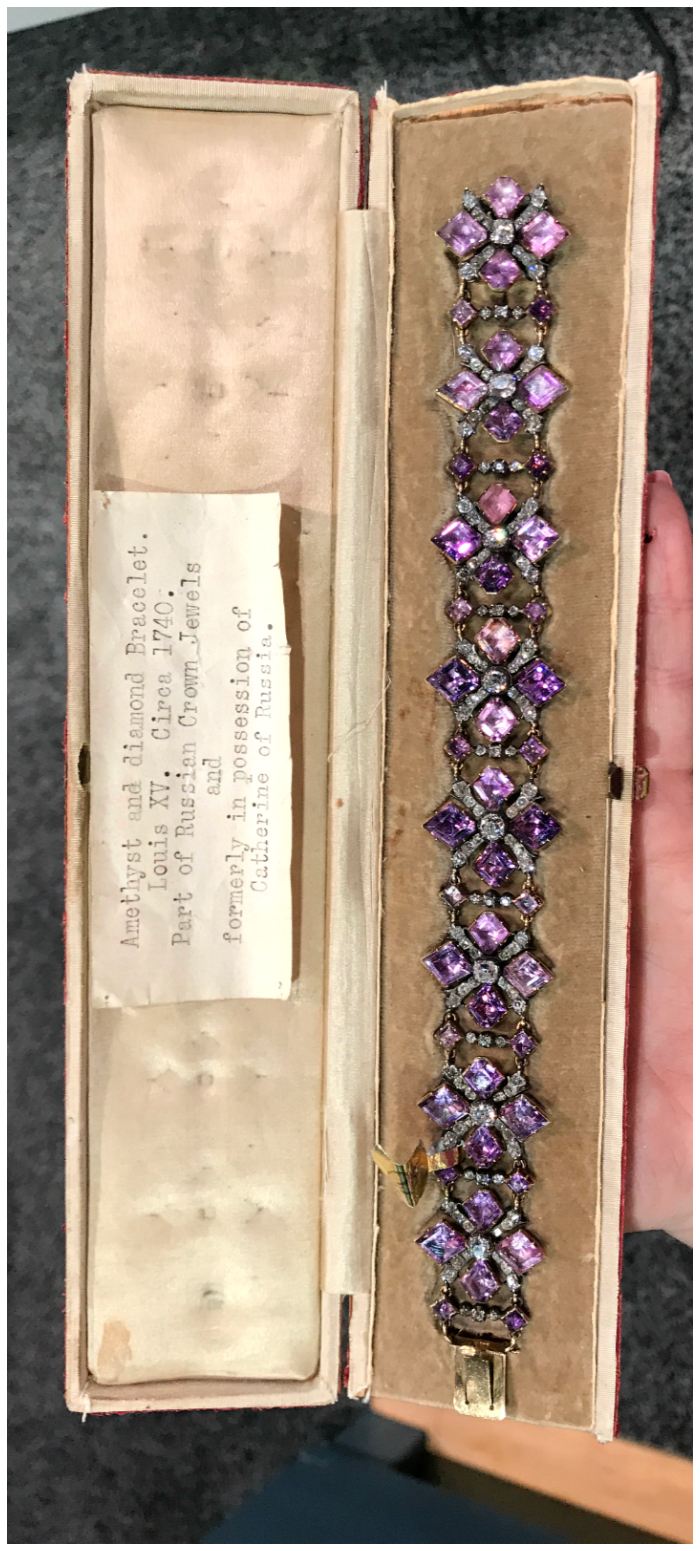 A stunning antique amethyst bracelet from the Russian Crown Jewels, circa 1740s. This piece belonged to Catherine the Great.
