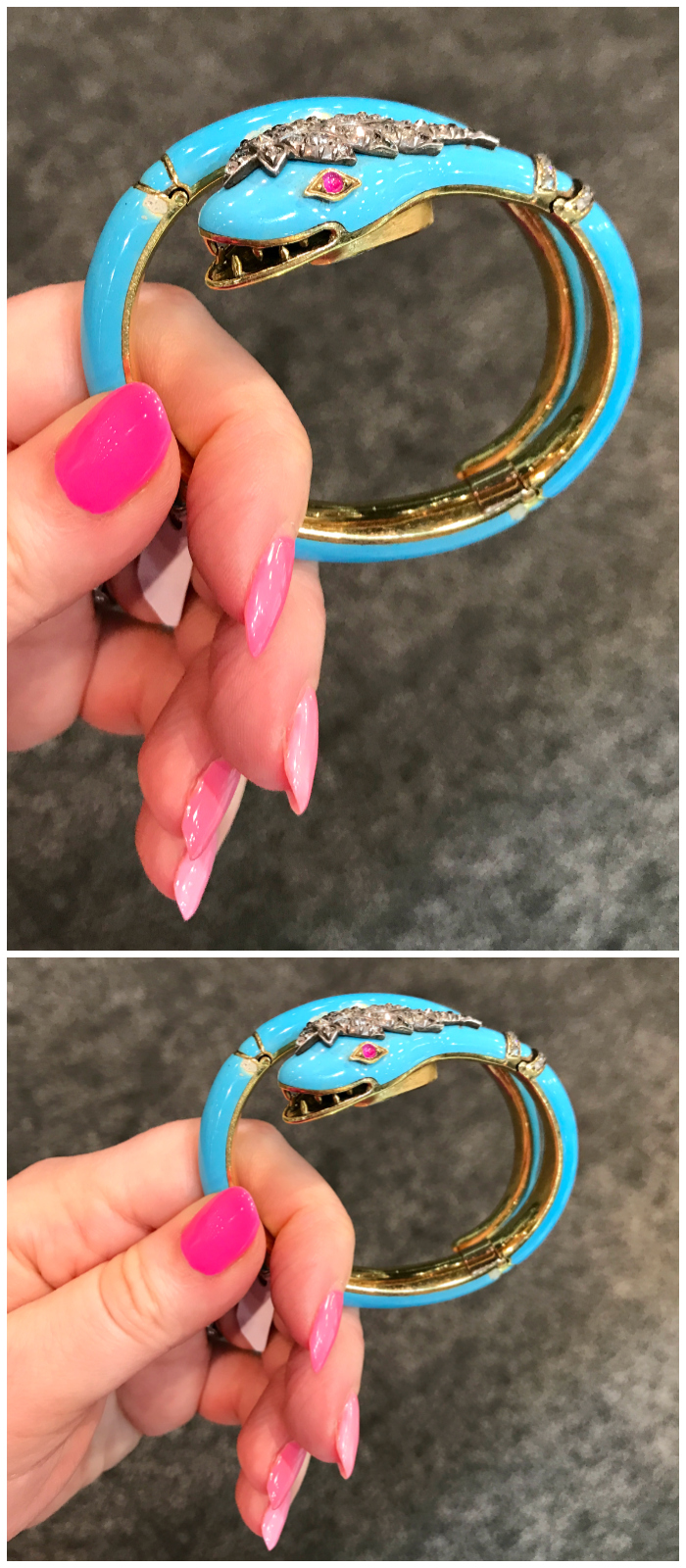 A wonderful blue enamel snake bracelet from the Victorian era! I love that color. Spotted at Keyamour.
