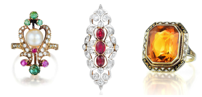 Three antique rings from the Fortuna Summer Fine Jewels auction.