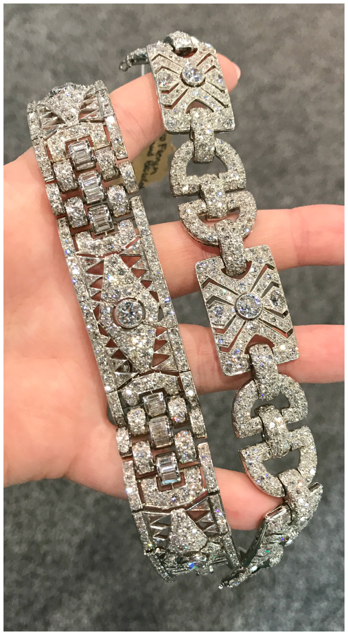 Two beautiful Art Deco diamond bracelets from Steve Fishman.
