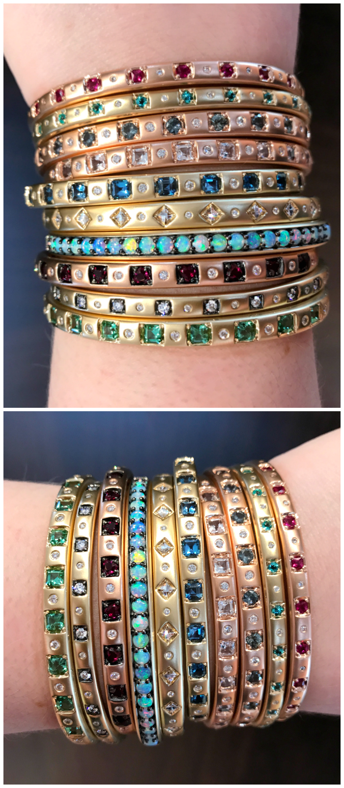 A glorious stack of bangles by Jane Taylor Jewelry! Gemstones and diamonds in yellow gold.