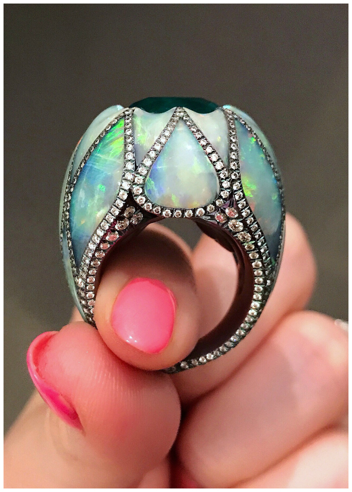 A mind blowing opal, diamond, and emerald ring by Arunashi!