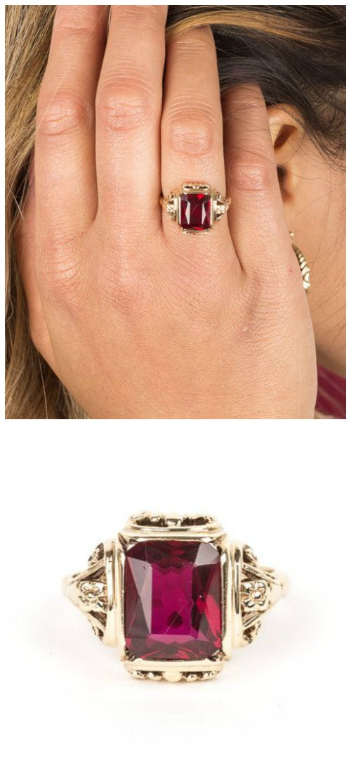 A vintage ruby and diamond ring in gold. A pre-loved piece from STORE 5a.