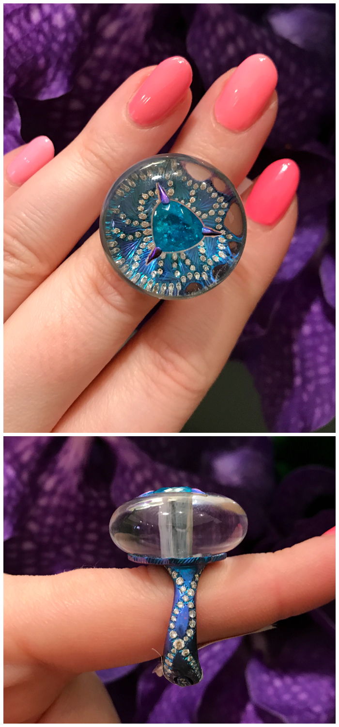 An incredible ring by Arunashi. Titanium, Paraiba tourmaline, and magic.