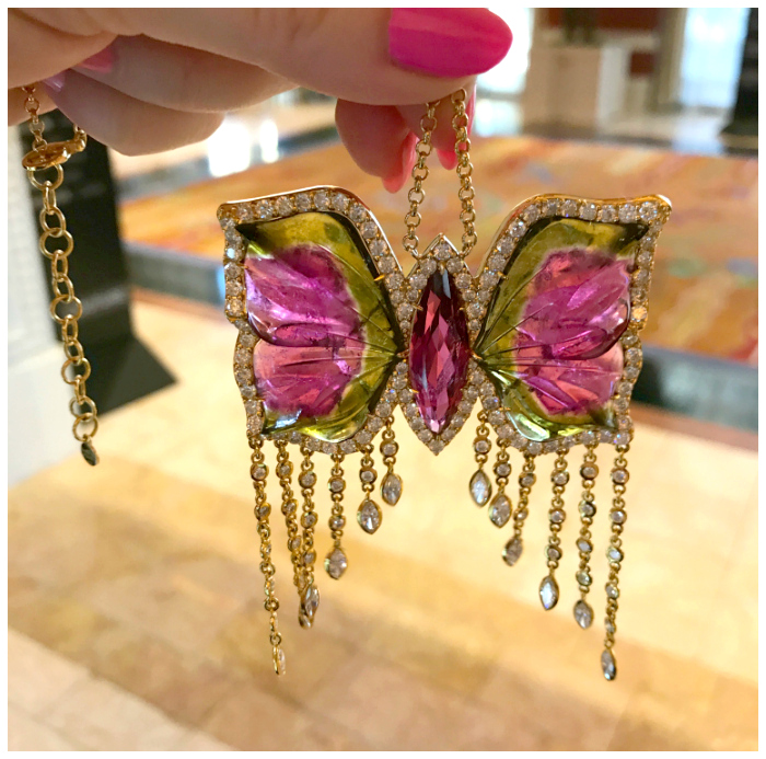An incredible watermelon tourmaline butterfly jewel by Buddha Mama!
