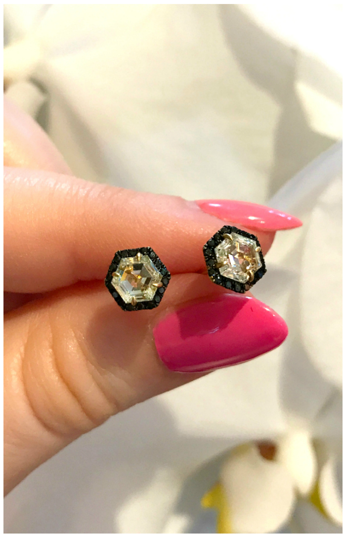I can't get over how much I love these hexagonal diamond studs by Doryn Wallach! With black diamond pave accents.
