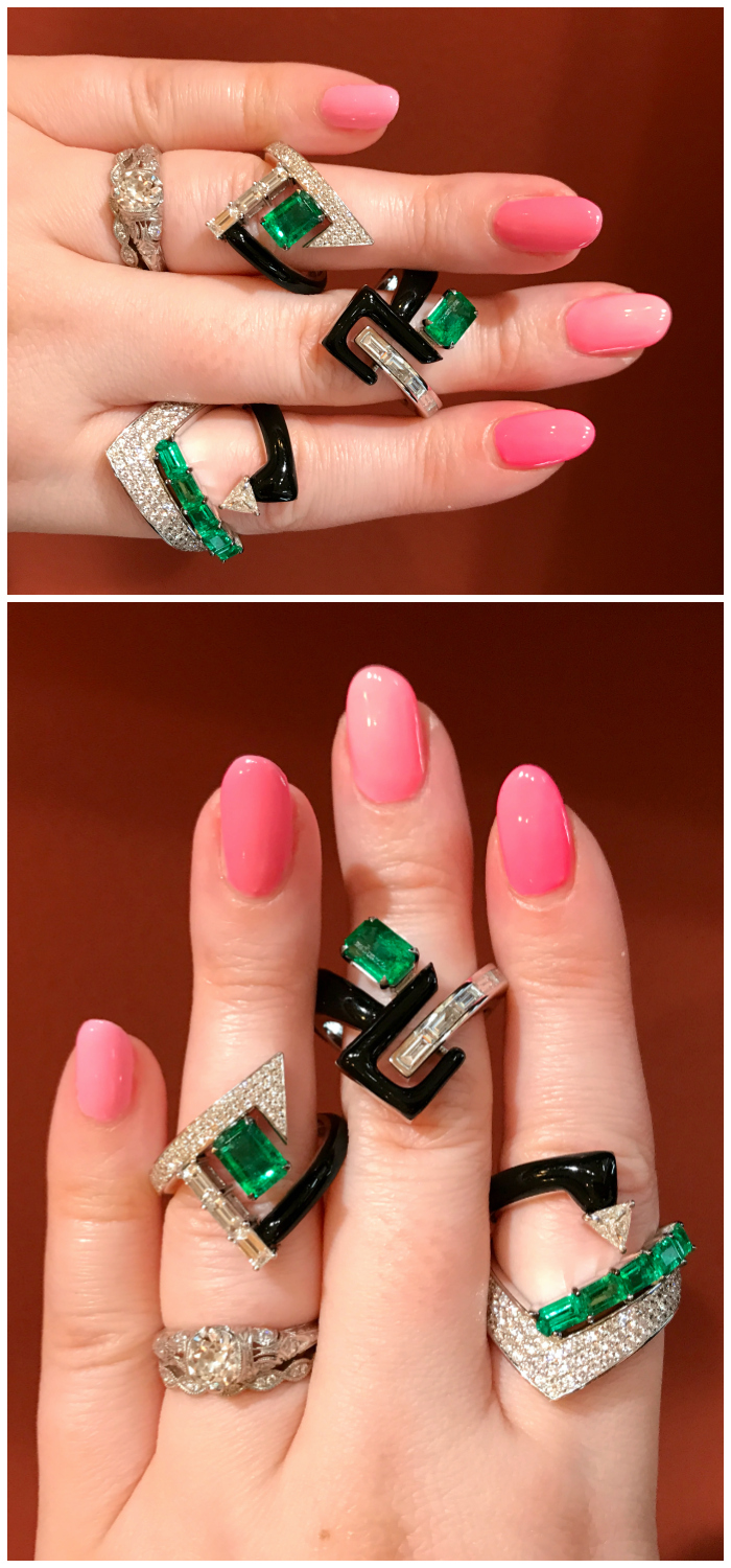 I love love love these rings by Nikos Koulis! Diamonds and emeralds with black enamel.