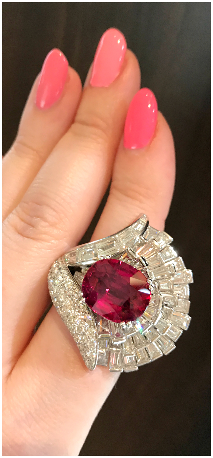 This magnificent ruby and diamond ring was created in honor of Italian jewelry brand Picchiotti's 50th anniversary.