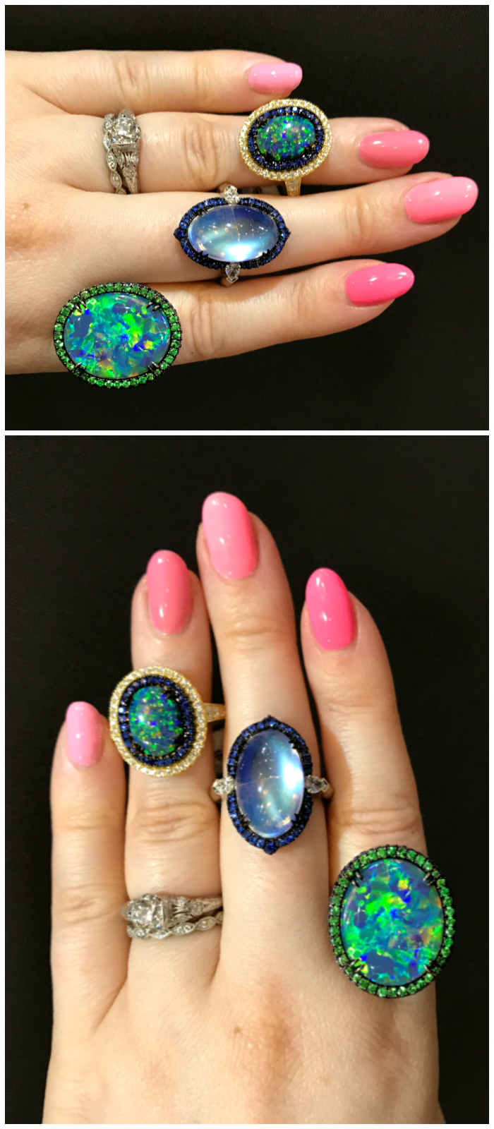 Three spectacular rings from Omi Prive! Two opals and a moonstone.