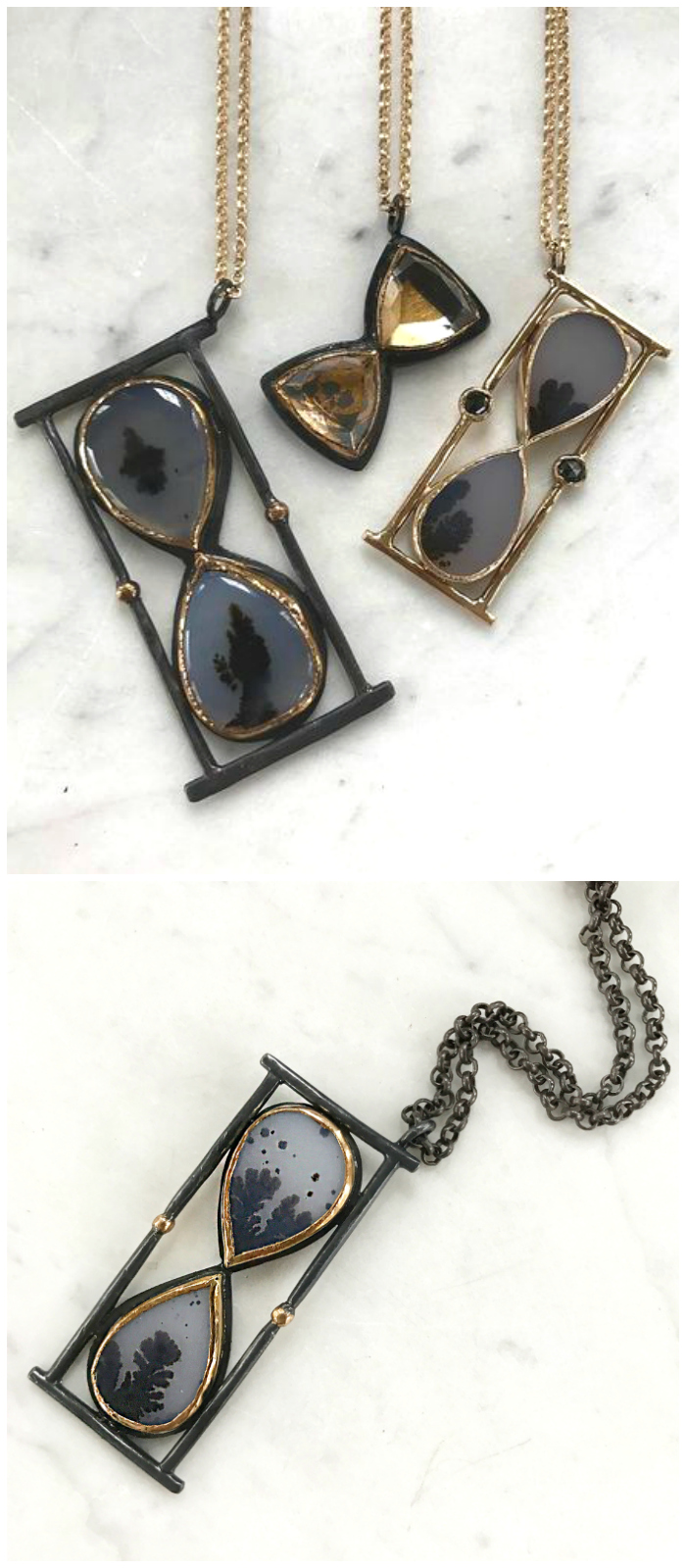 Agate hourglass pendants by Acanthus Jewelry. In oxidized silver with gold.