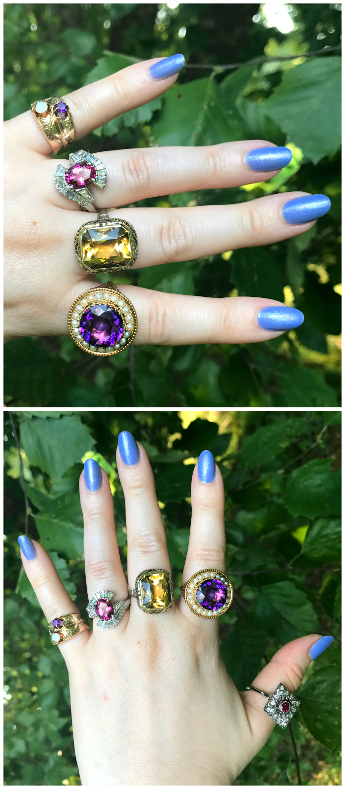 A hand full of stunning vintage rings from Three Graces!