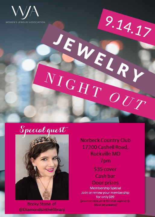 Come to the DC area's Jewelry's Night Out, with Becky Stone of Diamonds in the Library.
