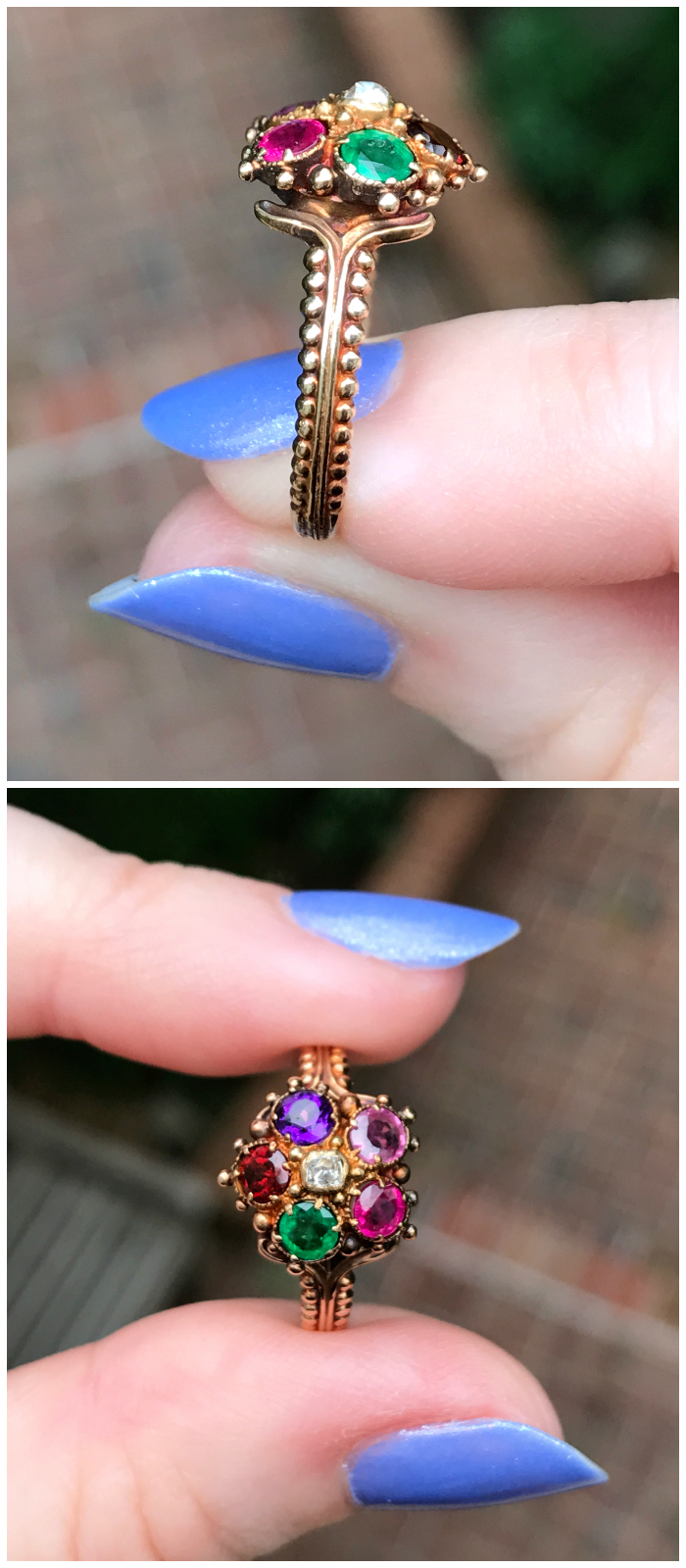 Incredible details on the side of these two antique Georgian era rings from Three Graces.