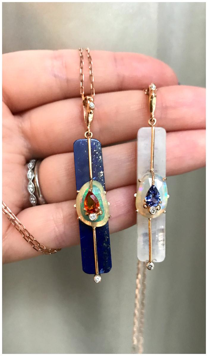 Two beautiful gemstone pendants by Loriann Jewelry.