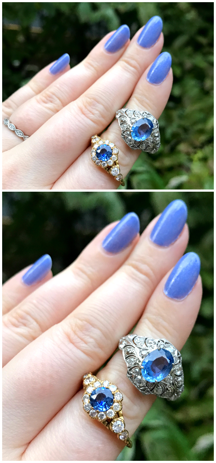 Two fantastic sapphire rings! One is antique and in platinum, the other is newer and in yellow gold.