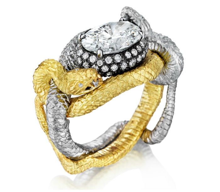 Anthony Lent's Bespoke Fighting Vipers Ring in Platinum and 18k yellow gold with diamonds. A beautiful statement piece or engagement ring!