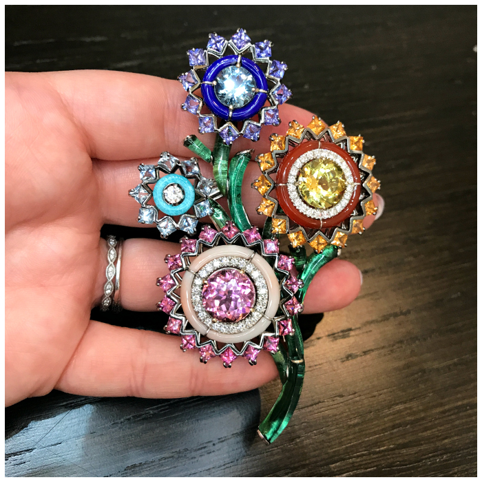I'm totally blown away by this brooch from Italian jewelry brand Carlo Berberis! Gemstone flowers with carved hardstone details and a tourmaline stem.