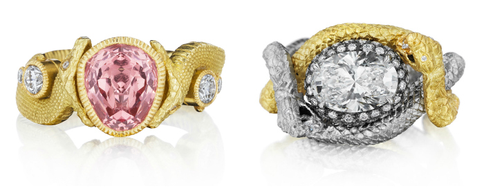 Two stunning one of a kind snake rings by Anthony Lent.