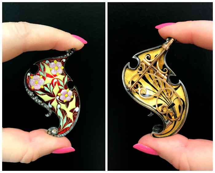 The front and back of a beautiful, authentic antique brooch from Joden Jewelry.