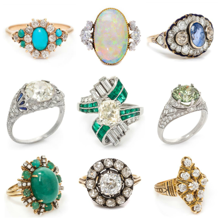 A few of the spectacular rings in Leslie Hindman's upcoming December auction!