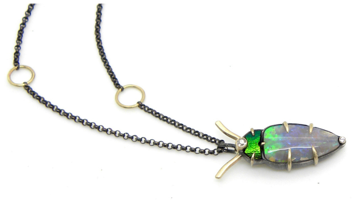 A one of a kind opal pendant necklace by Hannah Blount.