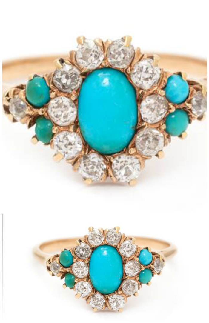 An antique Victorian era yellow gold, turquoise, and diamond ring. What a pretty little ring!